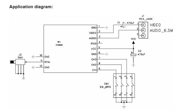 Boscam FPV 5.8G беспроводной приемный модуль Приемник RX5808 аудио видео для РУ Дрон FPV
