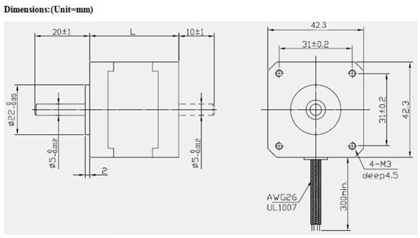 JKM NEMA17 1.8°42 Hybrid Stepper Motor Two Phase 40MM/48MM