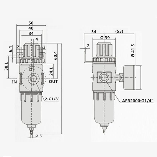 1/4 inch arf2000 air compressor filter regulator water oil