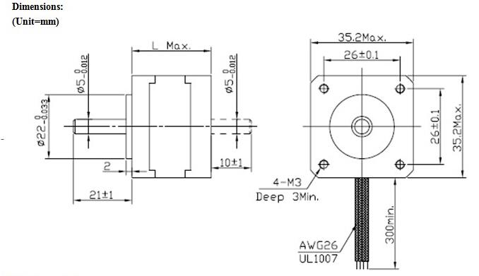 jkm nema14 1.8°35 hybrid stepper motor two phase 34mm