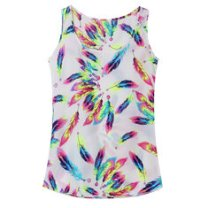 Plus Size S-5XL Women Casual Feather Printed Chiffon Tank Top