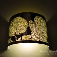 Vintage Stainless Steel Forest Carved Wall Light Lamp