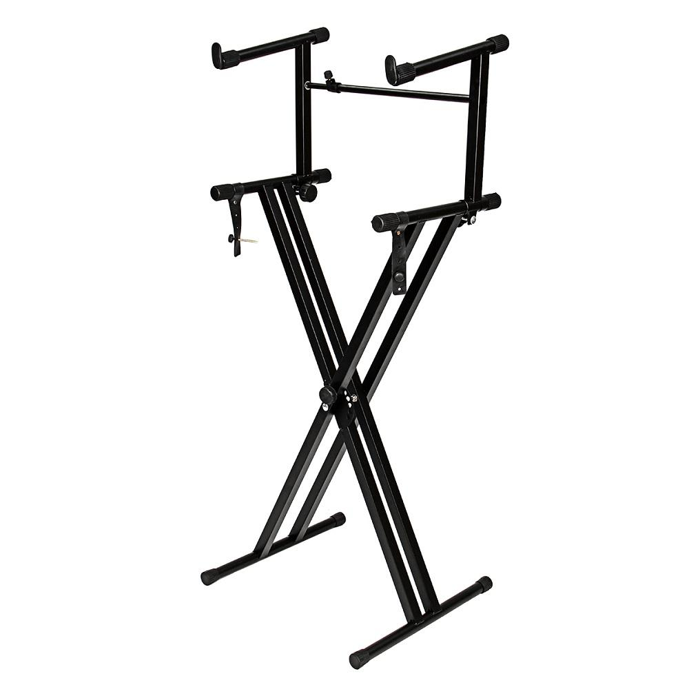 2 tiers x style adjustable keyboard stand folding