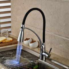 Led Kitchen Faucet Kraft Cabinets Sink Black Chrome Plated Cold Hot Pull Out Spray Mixer Taps Cod