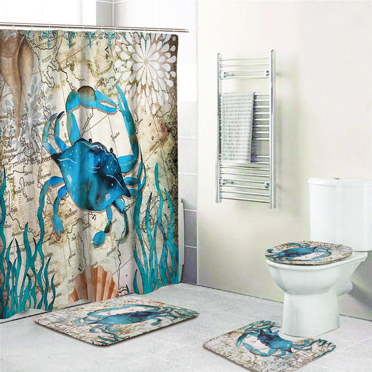 Bathroom Shower Curtain Crab Printing Bathroom Shower Curtain Toilet Cover Mat Non Slip Rug Set