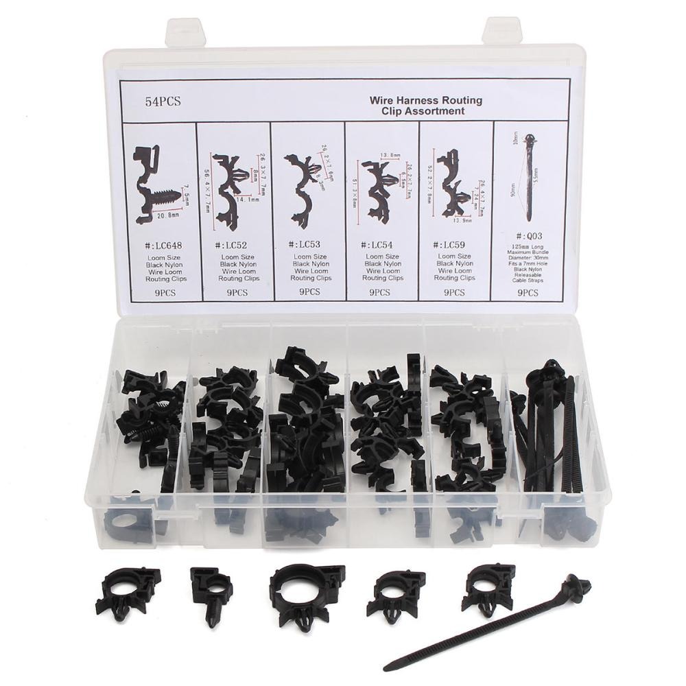 medium resolution of 54pcs wiring harness routing convoluted conduit clip assortment with box cod