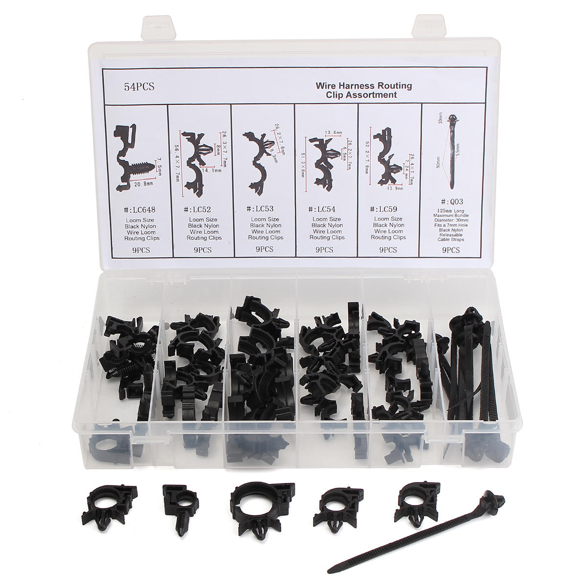 hight resolution of 54pcs wiring harness routing convoluted conduit clip assortment with box cod