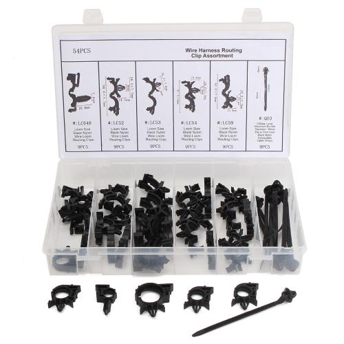 small resolution of 54pcs wiring harness routing convoluted conduit clip assortment with box cod