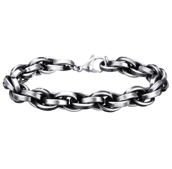men stainless steel bracelet punk gun black bangle chain