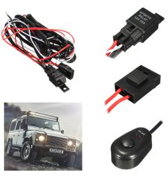 2 5m led work light relay wire harness loom fuse switch dc12v 40a for offroad suv [ 1200 x 1200 Pixel ]