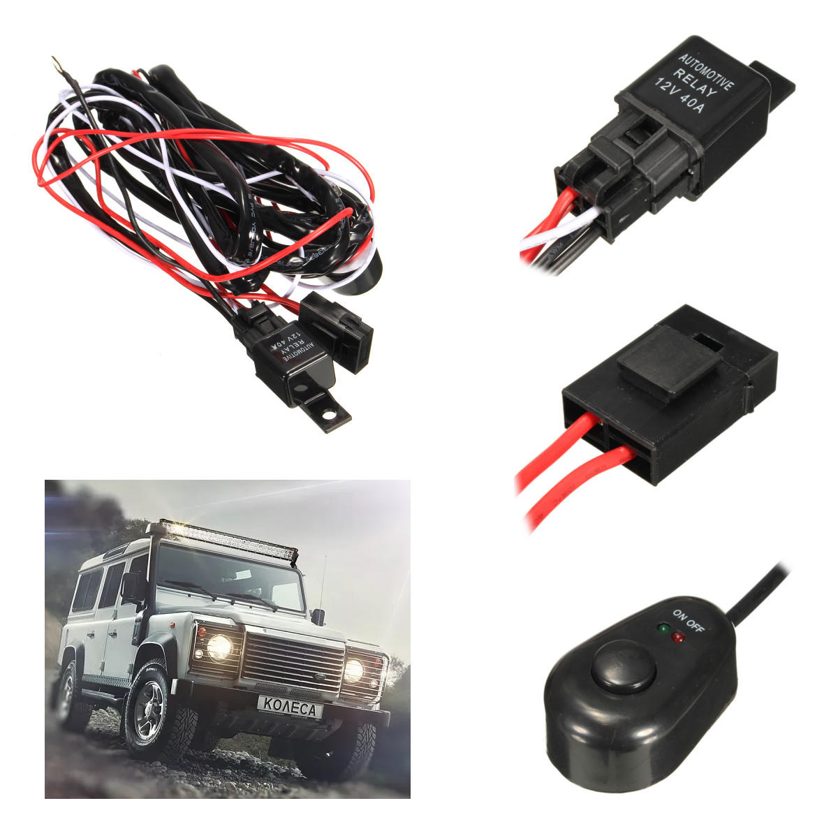 hight resolution of 2 5m led work light relay wire harness loom fuse switch dc12v 40a for offroad suv