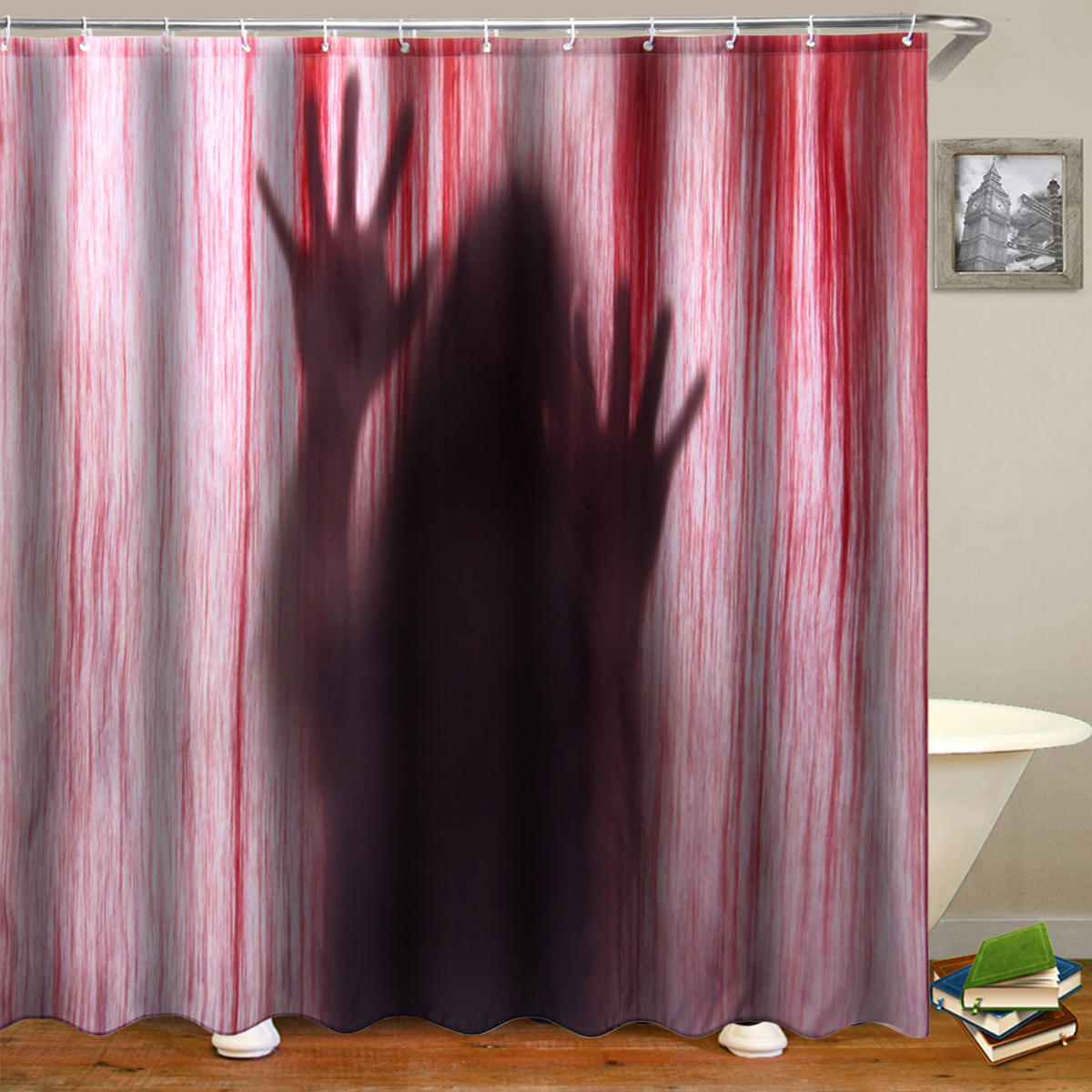 Bathroom Shower Curtain 71 Halloween Bloody Hands 3d Printed Bathroom Shower Curtain Decor With 12 Hooks