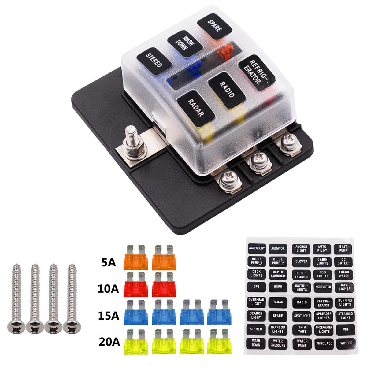 hight resolution of 12 32v 6 way 12 blade fuse box holder led warning lights car race rally marine