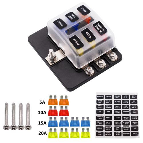 small resolution of 12 32v 6 way 12 blade fuse box holder led warning lights car race rally marine