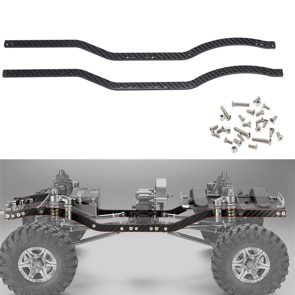 2pc carbon fiber chassis frame rails set for axial scx10 1
