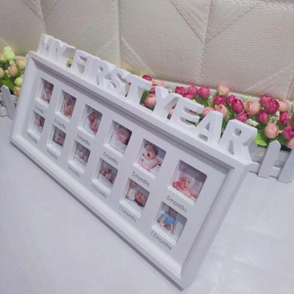 Year Baby Frame Display 12 Months Keepsake Collage Wood Banggood