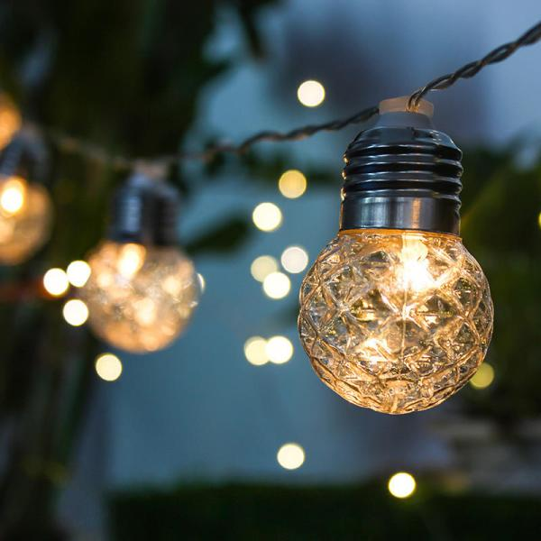 3.8m Solar Powered 10 Led Pineapple Hanging Bulb String Light Christmas Outdoor Party Patio
