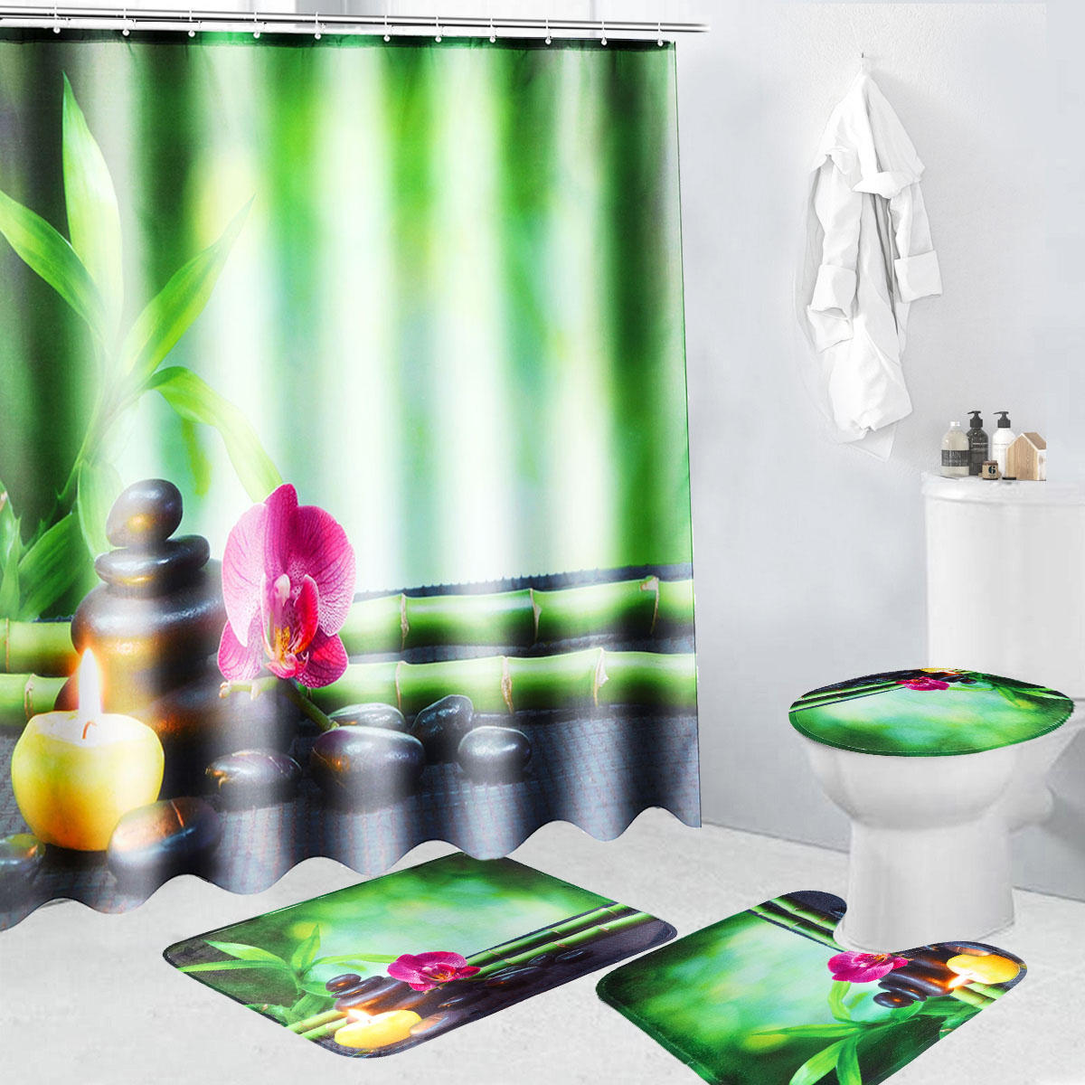 Bathroom Shower Curtain 4pcs 180x180cm Bamboo Pebbles Bathroom Shower Curtain With Hooks Toliet Cover Mat