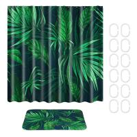 tropical plants waterproof shower curtain fabric with ...