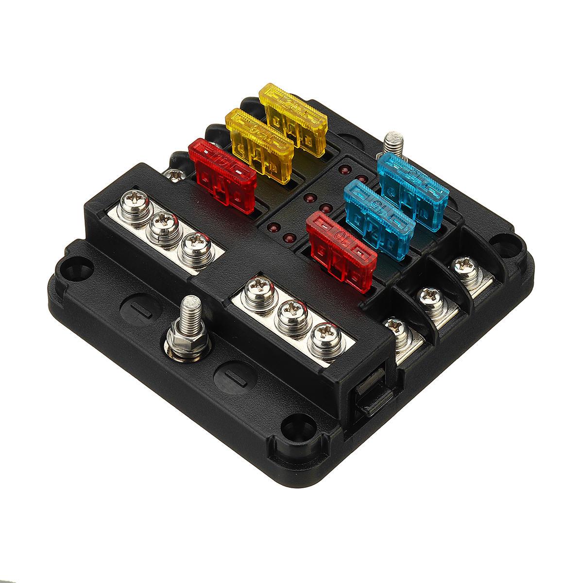 hight resolution of 12v 24v 6 way blade fuse holder box block case for car truck boat 12v marine fuse box