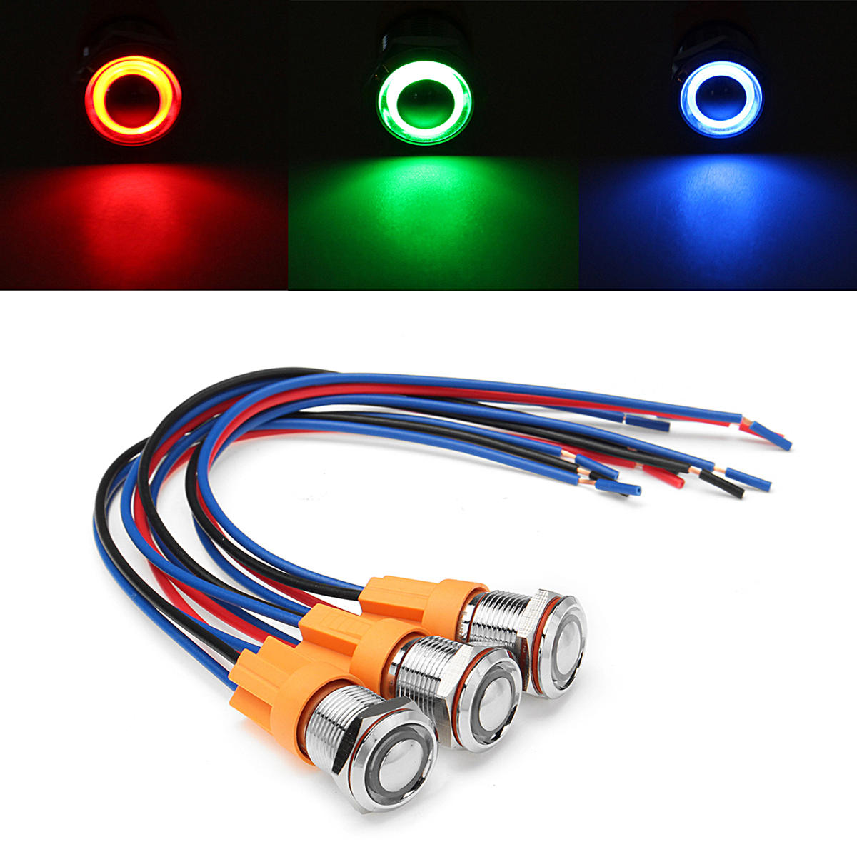 hight resolution of 12v 24v 4pin 12mm metal on off led push button switch wiring harness switch