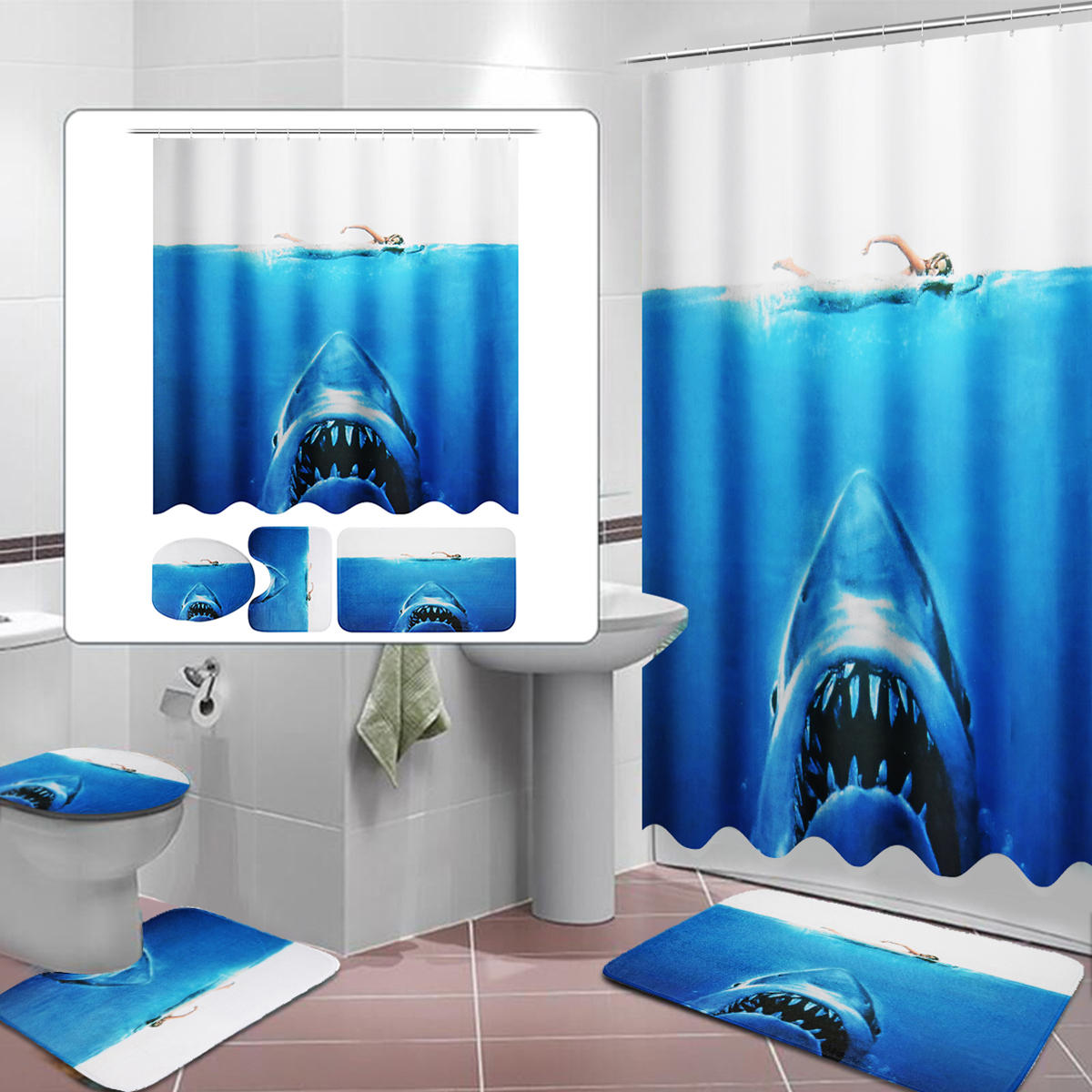 Bathroom Shower Sets Deep Sea Shark 3d Printing Bathroom Shower Curtain Toilet Cover Mat Non Slip Rug Sets