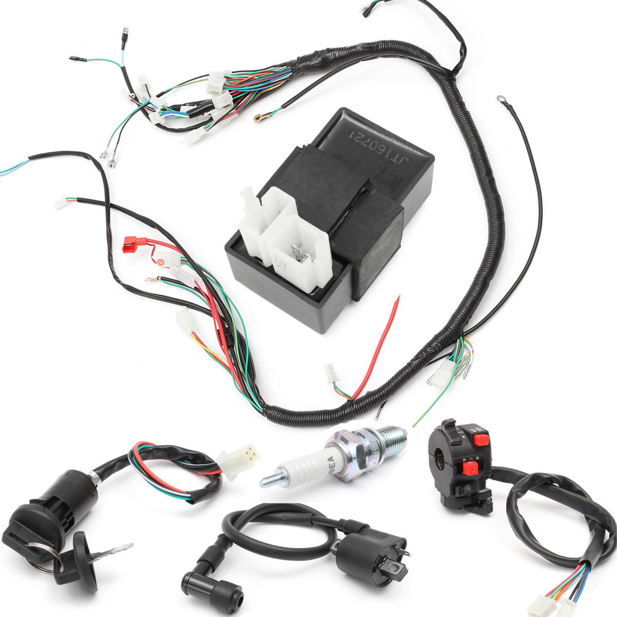 hight resolution of 150cc 200cc 250cc wiring harness loom solenoid coil regulator cdi for atv quad bike