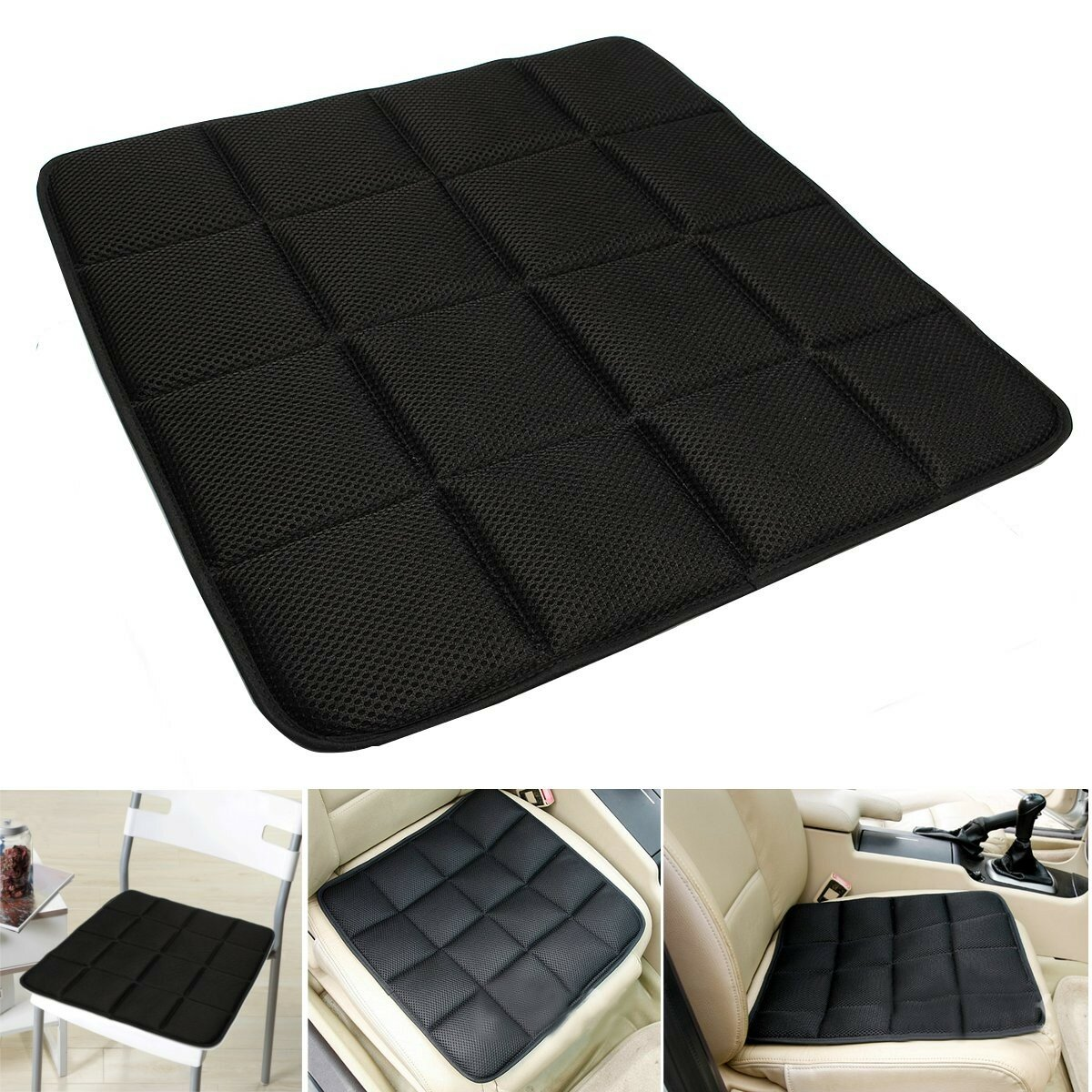 Desk Chair Seat Cushion Bamboo Charcoal Breathable Seat Cushion Cover Pad Mat For Car Office Chair Black