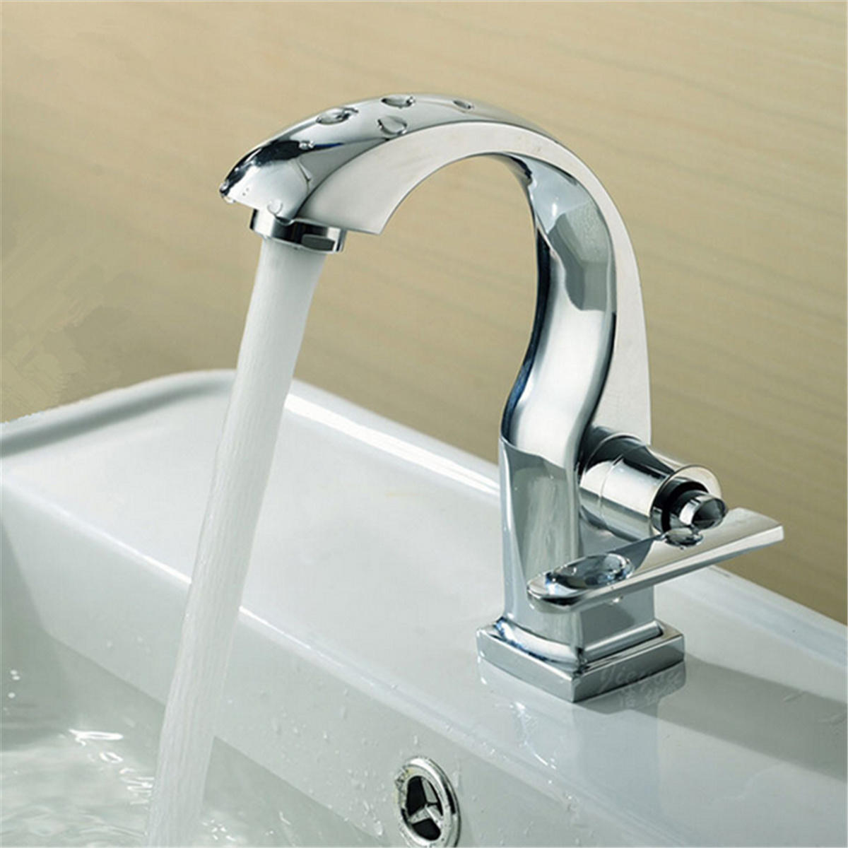Bathroom Sink Faucets Chrome Finish Single Lever Home Bathroom Basin Faucet Spout Sink Cold Water Tap