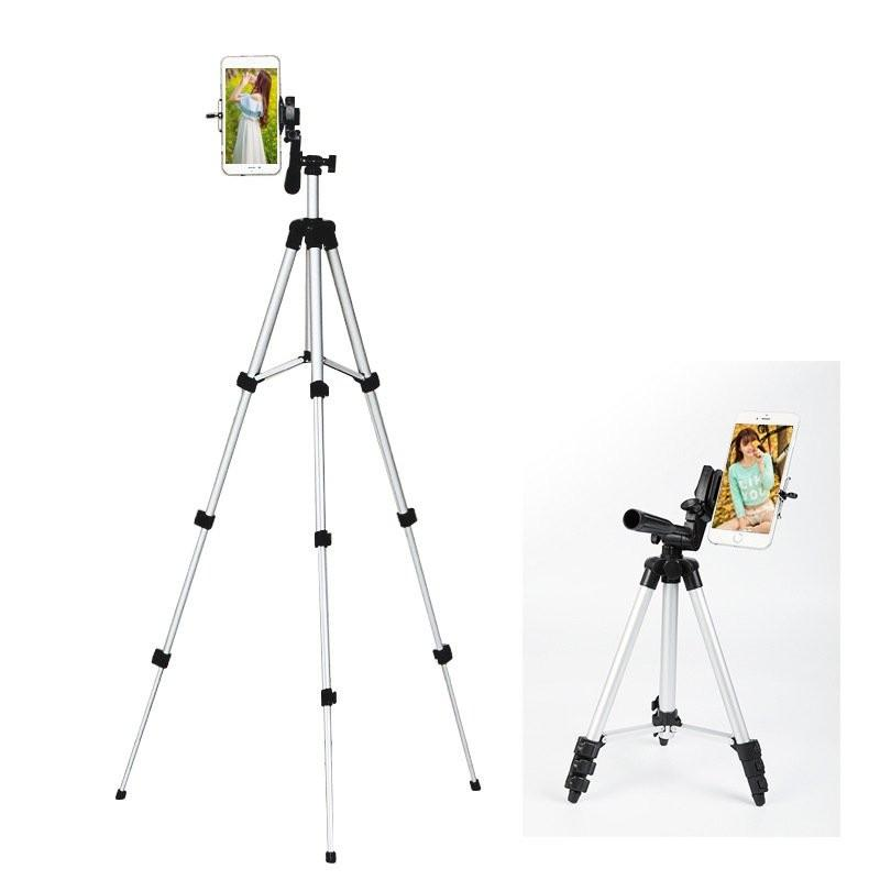4 sections aluminium camera tripod phone stand with phone