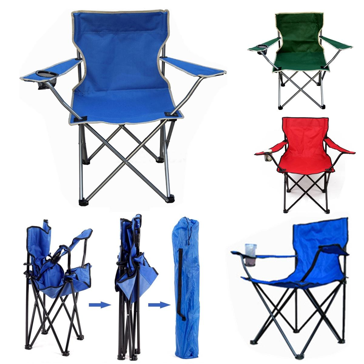 Beach Folding Chairs Outdoor Portable Folding Chair Fishing Camping Beach Picnic Chair Seat With Cup Holder