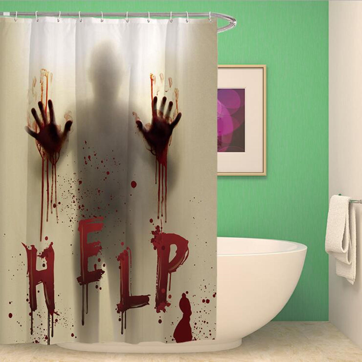 Bathroom Shower Curtain Halloween Horror Bloody Hands Helps Waterproof Shower Curtains Bathroom Decor