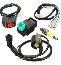 wiring loom kill switch coil cdi spark plug kit for 110cc 125cc 140cc pit bike [ 1200 x 1200 Pixel ]