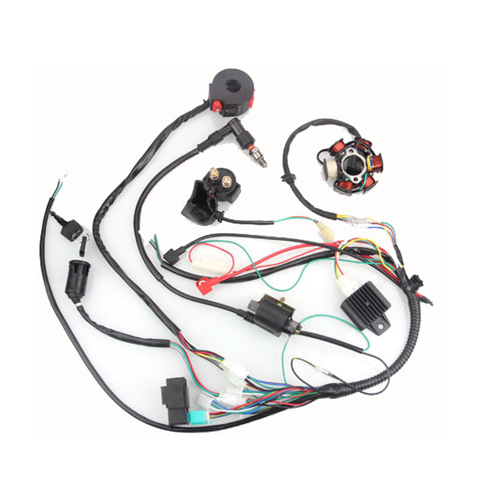 hight resolution of 50cc 125cc mini atv complete wiring harness cdi stator 6 coil pole ignition electric