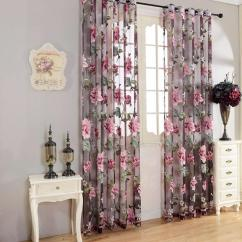 Pictures Curtains Living Room How To Arrange Furniture Around A Corner Fireplace Honana Wx C2 Flower Transparent Tulle Window Screen Decor Yellow Purple Sheer Curtain At Banggood