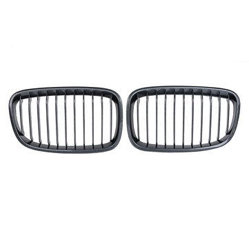 pair carbon fiber abs front kidney grille for bmw f20 f21