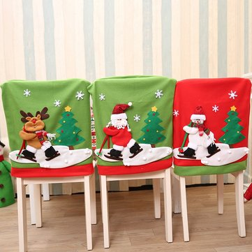 chair covers new year table chairs rental christmas back cover santa claus snowman elk hat decorations for home dinner