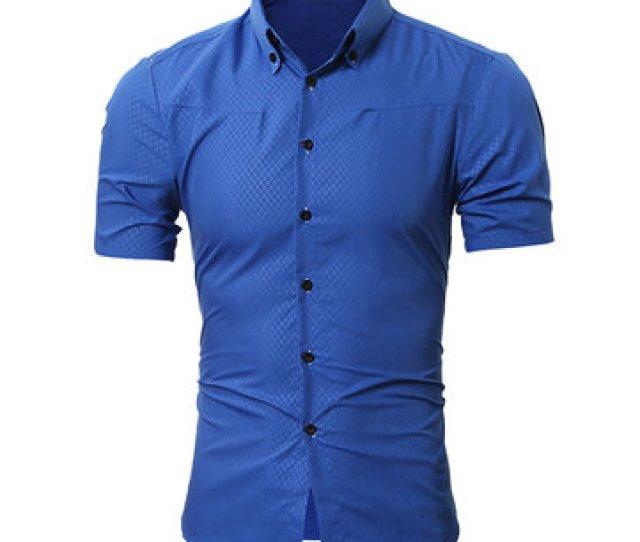 Mens Rhombus Grid Button Down Short Sleeve Slim Fit Gingham Dress Shirt