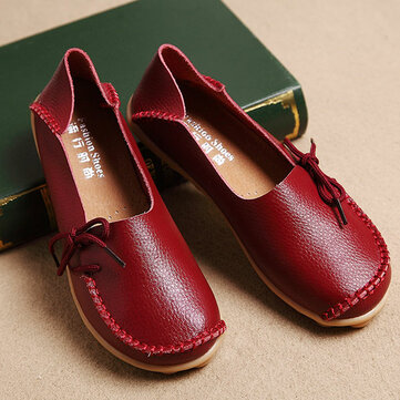 US$24.61 48% LOSTISY US Size 5-13 Women Soft Comfortable Lace-Up Breathable Casual Leather Flats Shoes Women's Shoes from Bags & Shoes on banggood.com