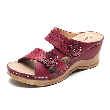 US$31.69 60% LOSTISY Hollow Out Slippers Soft Wedge Sandals For Women Women's Shoes from Bags & Shoes on banggood.com