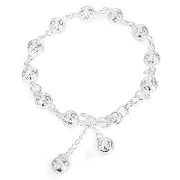 Sweet Silver Plating Hollow Out Beads Chain Bracelet Women