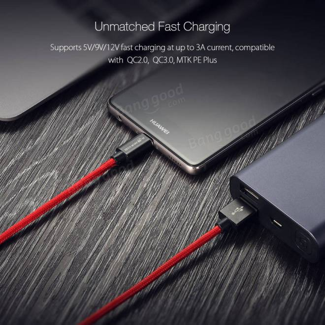 BlitzWolf® BW-TC2 3A USB Type C Braided Charging Data Cable 6ft/1.8m With Magic Tape Strap