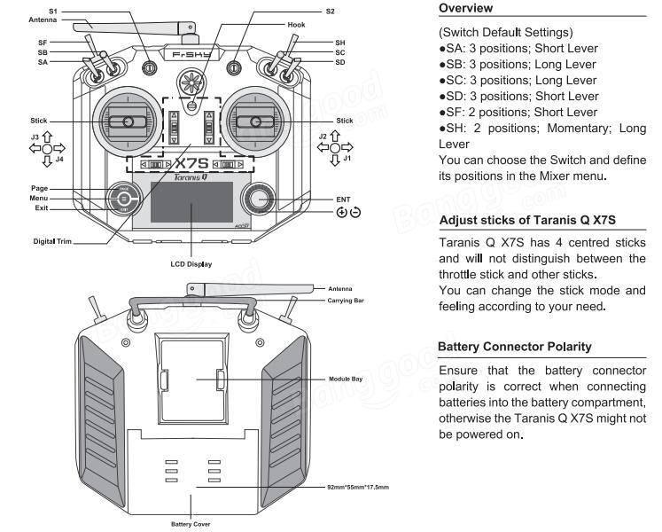 Frsky 2.4G 16CH ACCST Taranis Q X7S Transmitter Mode 2 M7