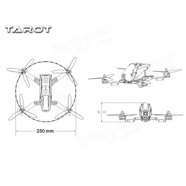 Tarot TL250H 250mm Semi-carbon FPV Racer Frame Kit For