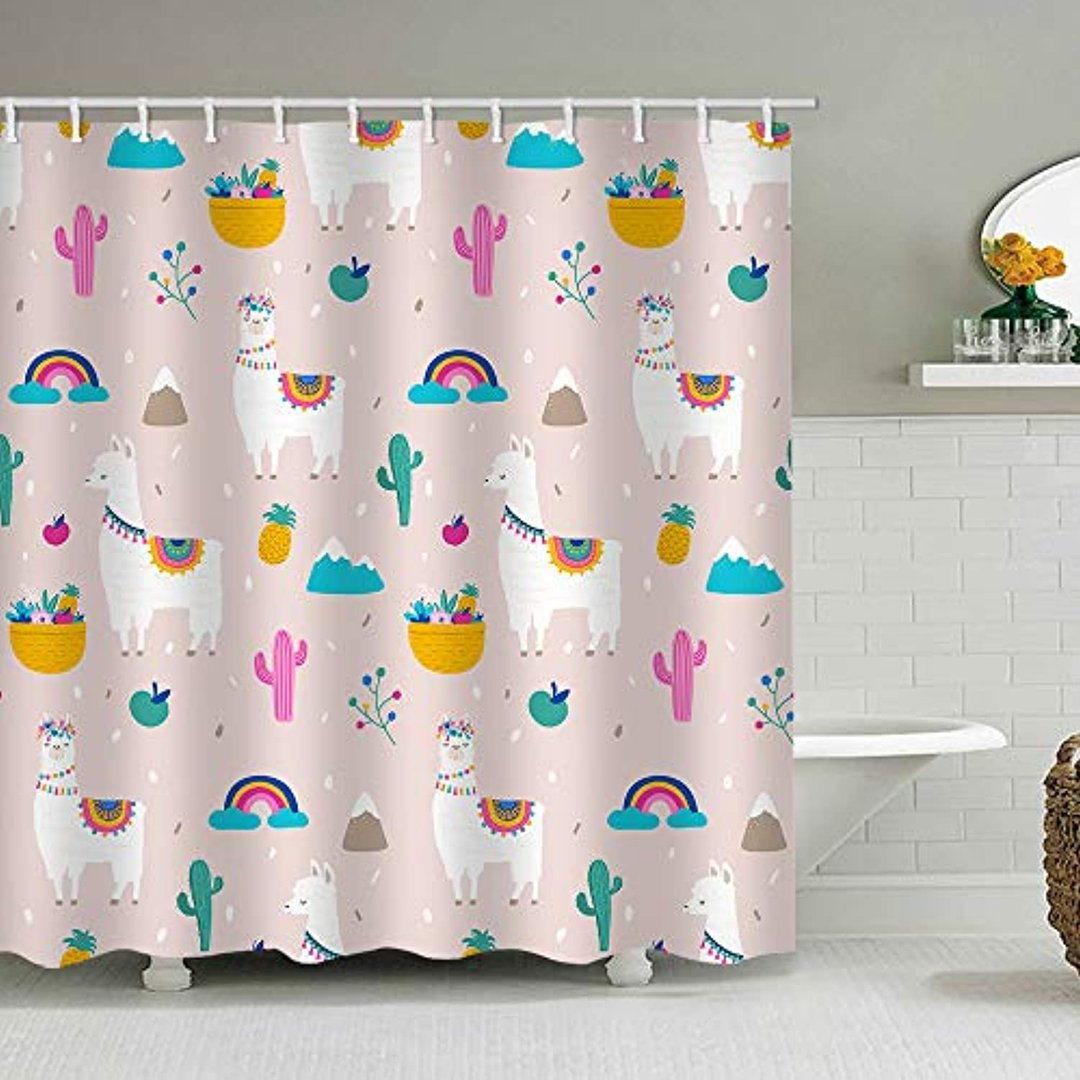 https www alanroye com products alanroye 72 x 72 inches shower curtain cute cartoon llama alpaca cactus pink green rainbow apple water soap resistant machine washable fabric bathroom decor set with hook bath curtain