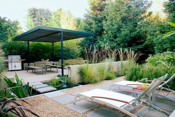 small backyard design ideas - sunset