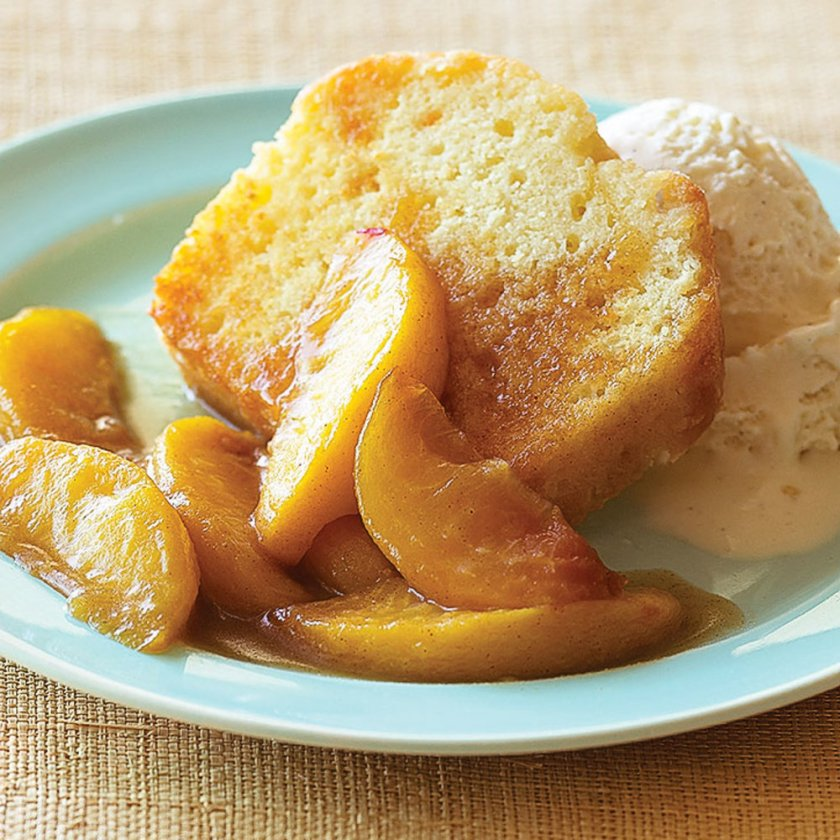 Sauteed Peaches over Pound Cake with Strong Ale with Peaches