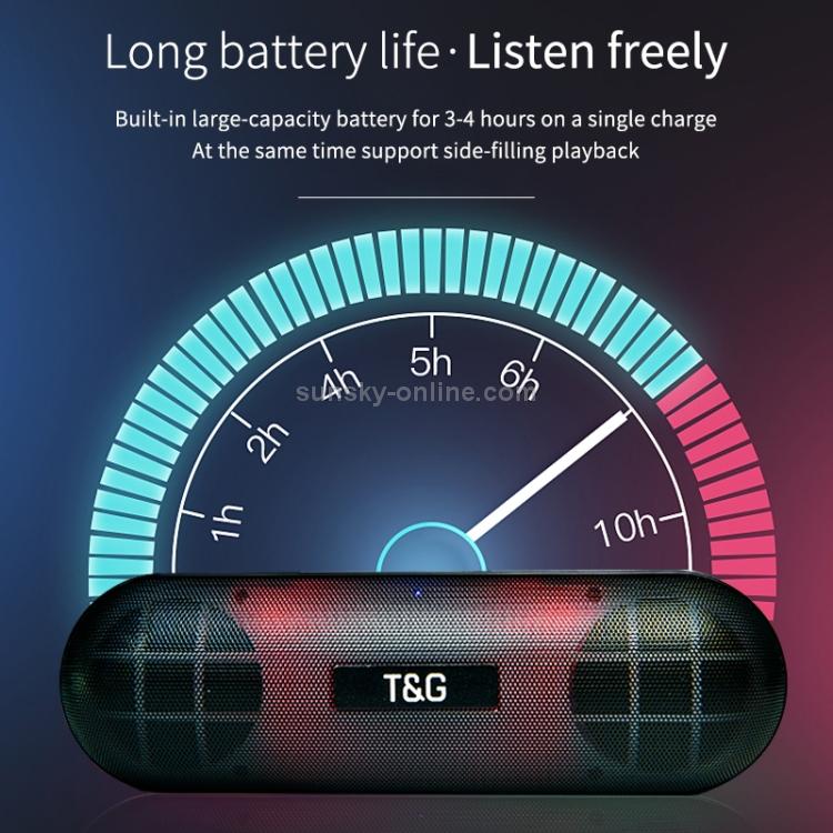 SUNSKY - T&G TG148 Portable Stereo Audio Super Bass LED Lantern Pill  Wireless Bluetooth Speaker(Gray)
