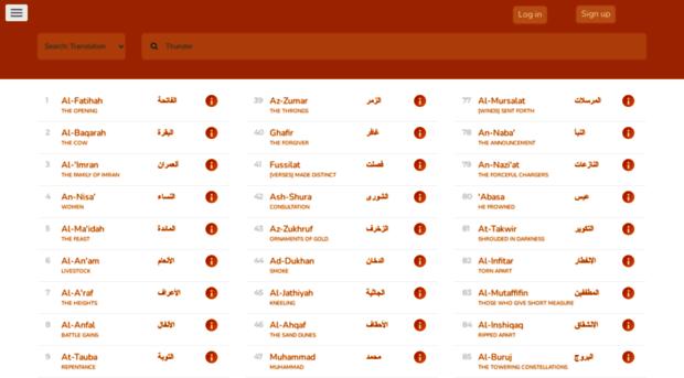 Snapshot from QuranHive Website