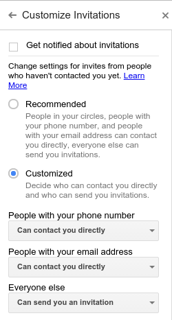 google hangouts invite settings